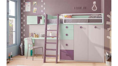 Lit Mezzanine Enfant Compact Coloré Avec Bureau Glicerio
