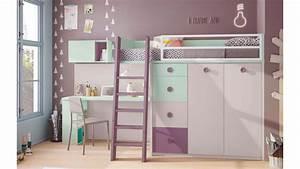 Lit Avec Bureau : lit mezzanine enfant compact color avec bureau glicerio so nuit ~ Teatrodelosmanantiales.com Idées de Décoration