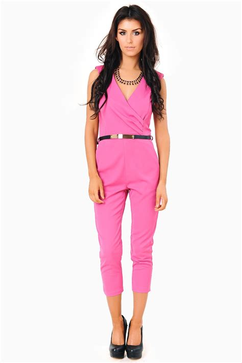 pink jumpsuits wrap front gold belt jumpsuit in pink am