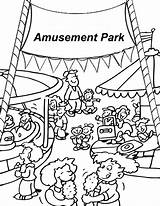 Coloring Amusement Park Pages Fair Carnival Clipart Printable County Template Vacation sketch template