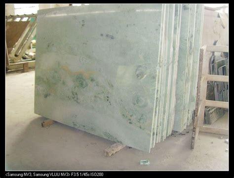 ming green marble slab counters blue subway tile slate backsplash blue backsplash
