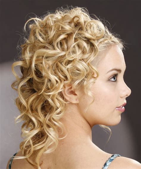 long curly formal updo hairstyle light honey blonde hair