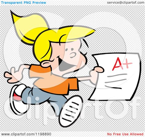 Girl with Report Card Clip Art