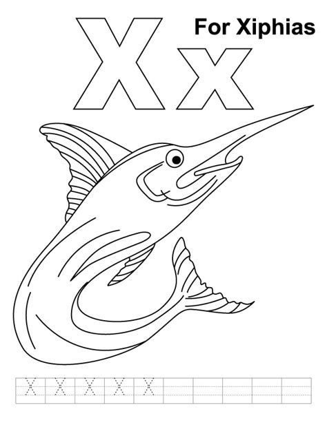 X For Coloring by X For Xiphias Coloring Page With Handwriting Practice
