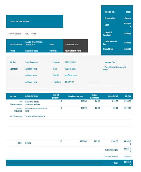 sample travel invoice  examples   word