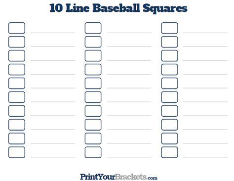 printable   baseball square pool