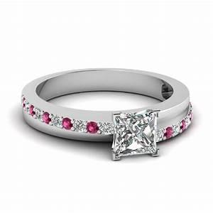 Cushion cut petite ring with black diamond in 14k yellow for Princess cut pink diamond wedding rings