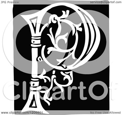 clipart   vintage black  white monogram letter p royalty  vector illustration