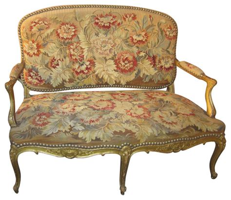 Traditional Settees by Regency Style Settee Upholstered In 18th Century Tapestry