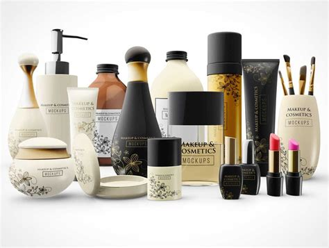 Download this image now with a free trial. Makeup Bottles and Cosmetic Cream PSD Mockup Packaging ...