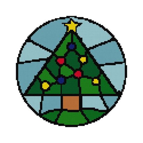 christmas tree stained glass counted cross stitch chart