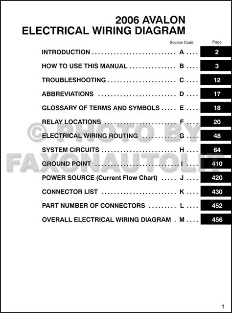 2006 toyota avalon wiring diagram manual original
