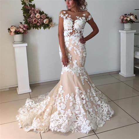 6585 pink lace wedding dress blush pink lace meramid fashionable wedding dress 6585