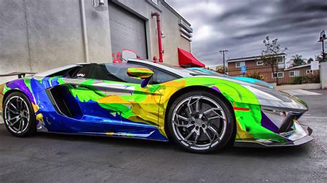 rainbow cars luxury cars 2015 2016 lamborghini aventador rainbow