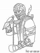 Mortal Kombat Coloring Pages Scorpion sketch template