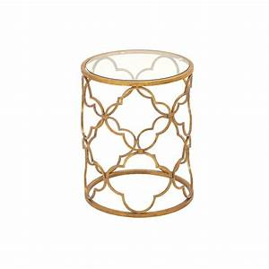 Litton Lane Brass Gold Round Accent Table With Quatrefoil