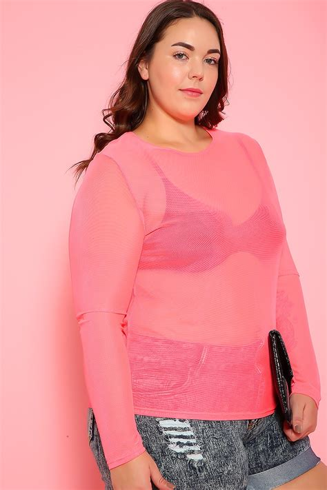 Sexy Neon Pink Mesh Long Sleeve Top Plus Size