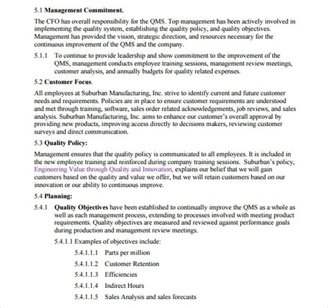 quality manual template    documents