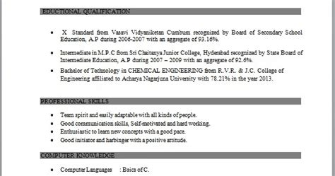 resume co resume sle of bachelor of technology in