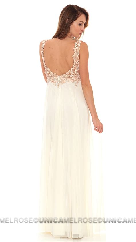 Ema Savahl Nude White Jeweled Hand Painted Gown