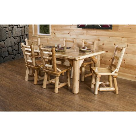 rustic kitchen table sets rustic white cedar log 84 quot dining table set with 8 chairs