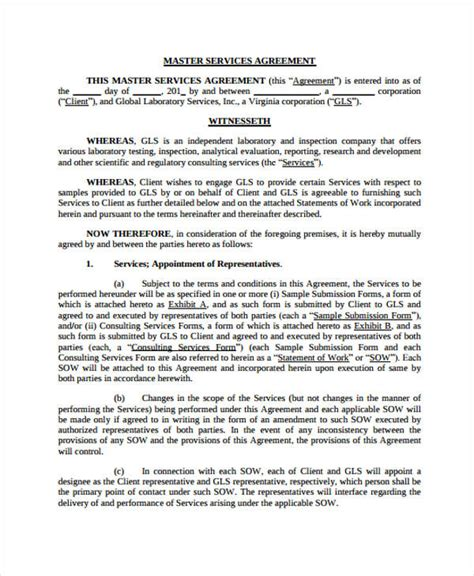 master service agreement template consulting service agreement resume template sle