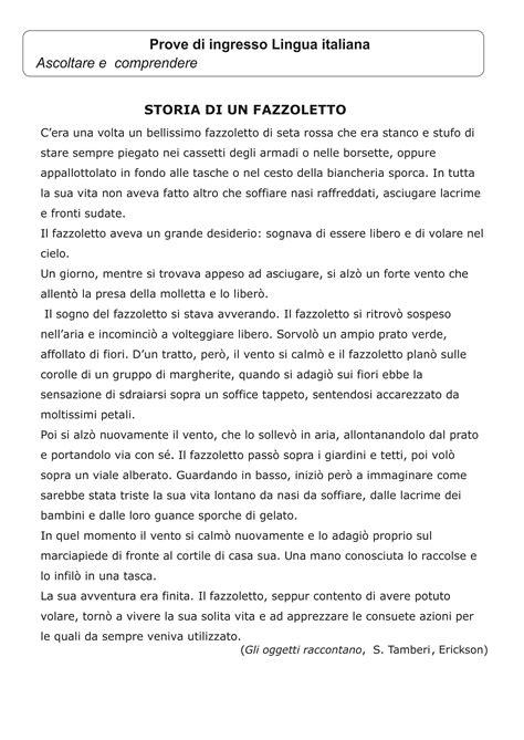 prove d ingresso classe seconda classe terza schede di ingresso lingua italiana