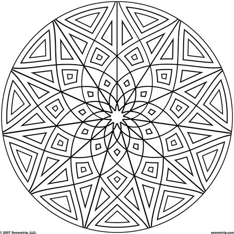geometric designs to color kaleidoscope coloring pages geometrip free