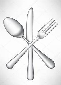 crossed fork, knife spoon vector — Stock Vector ...