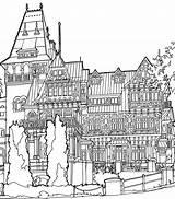 Mansion Coloring Pages Print из категории раскраски все sketch template