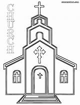 Church Coloring Pages Drawing Simple Building Printable Template Methodist Cross Sketch Print Templates Christian Easter Paintingvalley Popular sketch template