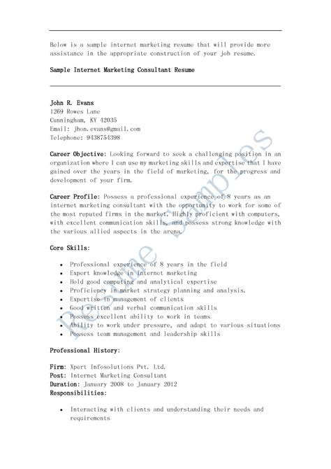 Marketing Consultant Resume by Resume Sles Marketing Consultant Resume