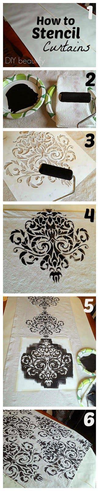stenciled drop cloth diy crafts ideas knock ballard inspired curtains