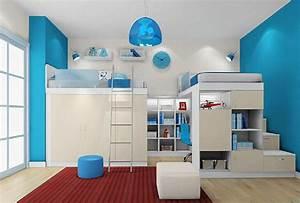 Interior design children bedroom blue wall 3D House