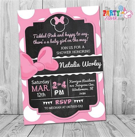 Pink And Black Baby Shower Invitations - minnie mouse baby shower invitation pink and black minnie