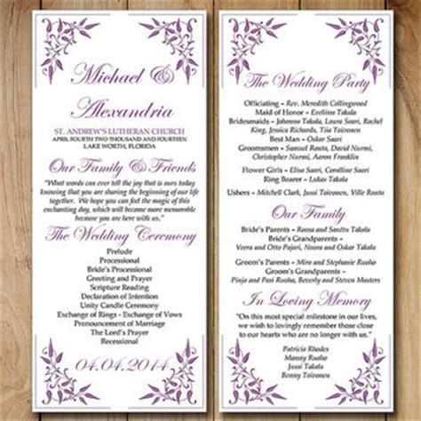 shop purple wedding programs on wanelo