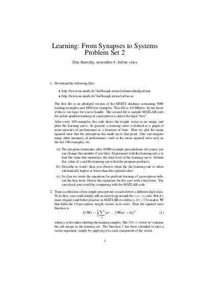 Learning: From Synapses to Systems Problem Set 2