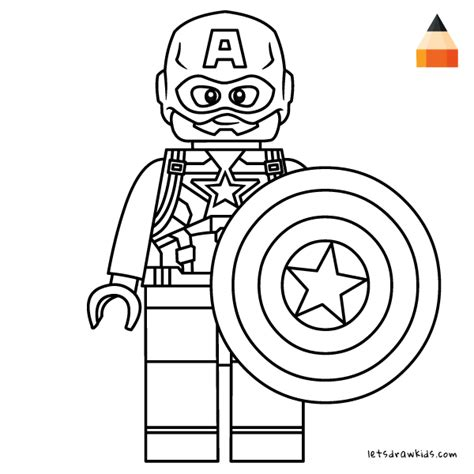 coloring page  kids   draw lego captain america