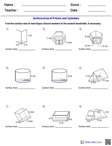prisms and cylinders surface area worksheets math aids com geometry worksheets volume