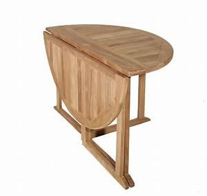 Table Jardin Bois Pliante : table de jardin en teck ronde pliante sumbara ~ Teatrodelosmanantiales.com Idées de Décoration