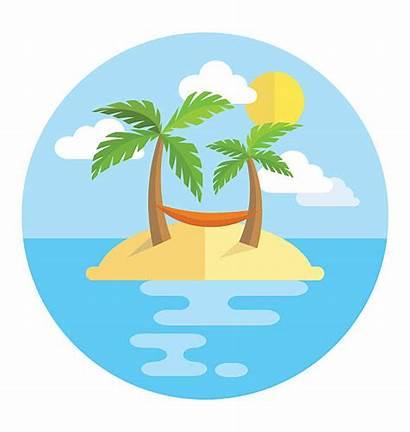 Island Hammock Clip Clipart Vacation Circle Sun