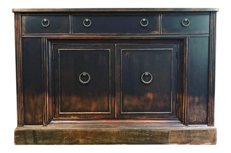 Weathered Black Distressed Sideboard Buffet