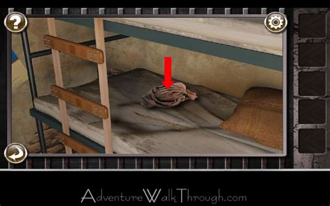 prison escape room level pillow bed rag handle bunk bottom yellow under left