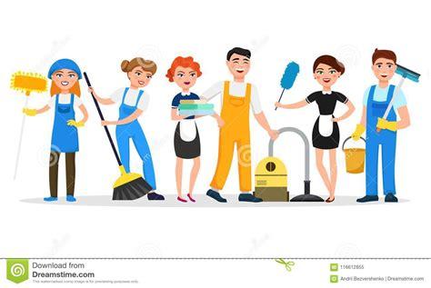 personajes de dibujos animados sonrientes personal de servicio de la limpieza aislados en el