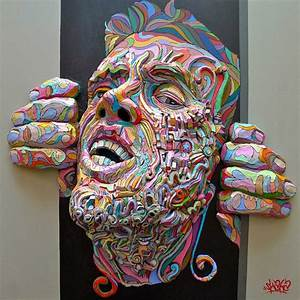 Graffiti meets sculpture in colorful figures that explode for Graffiti meets sculpture in colorful figures that explode through the canvas by shaka