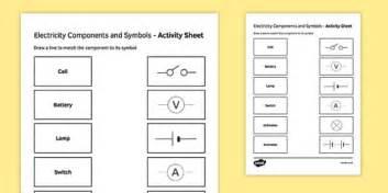 electricity components  symbols match  draw