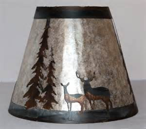 Plug In Swag Lamp by Mica Lamp Shade Deer And Pine Trees Metal Cut Out Scene