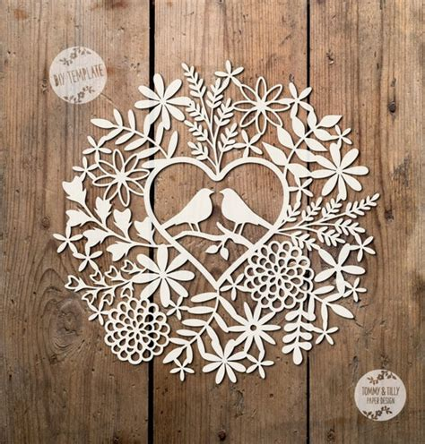 svg  love birds foliage design papercutting template