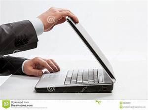 Businessman closing laptop stock photo. Image of computer ...