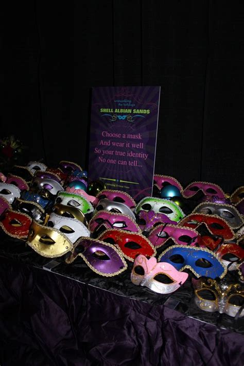 A Table Of Masks Was Set For Guests To Choose Their